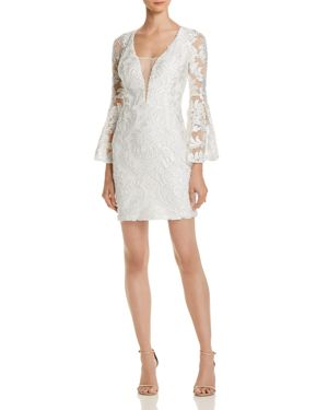 AQUA Bell-Sleeve Damask Dress - 100% Exclusive in White