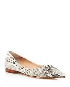 AQUA - Women's Abel Snake-Embossed Leather Pointed Toe Flats - 100% Exclusive