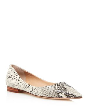 AQUA Women'S Abel Snake-Embossed Leather Pointed Toe Flats - 100% Exclusive in Natural Snake