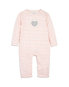 Albetta - Girls' Crochet-Heart Striped Coverall, Baby - 100% Exclusive