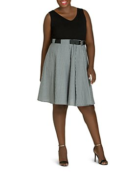 City Chic Plus - Combo Belted Play Dress