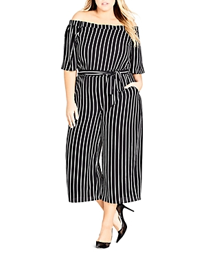 City Chic Plus Stripe Play Off-the-Shoulder Jumpsuit