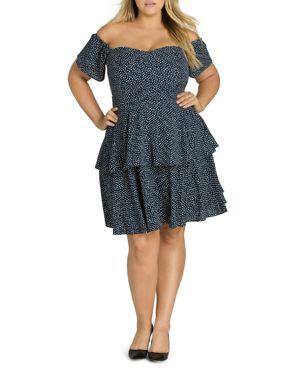 City Chic Plus Flirty Dot Off-the-Shoulder Dress