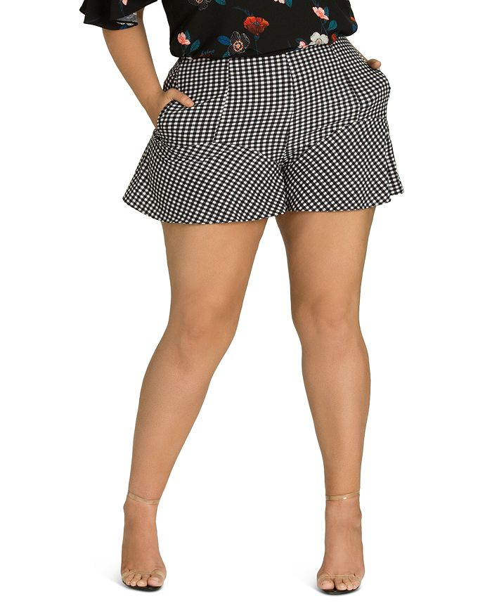 City Chic Plus - Gingham Flutter Shorts
