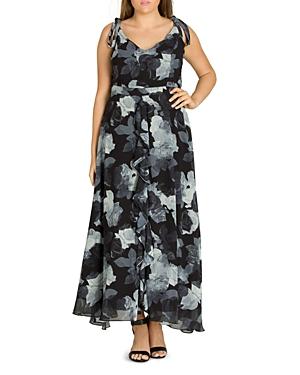 City Chic Plus Rose Print Maxi Dress