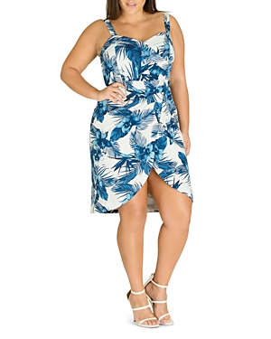 City Chic Plus Hawaii Pinup Printed Faux-Wrap Dress
