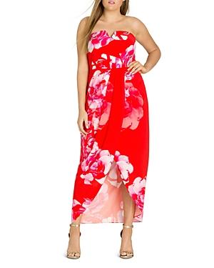 City Chic Plus Tango Floral Strapless Maxi Dress