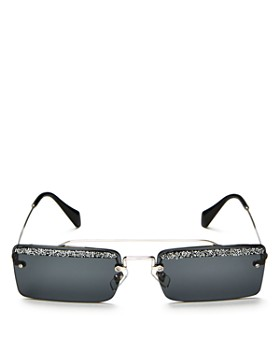 Miu Miu - Women's Embellished Brow Bar Square Sunglasses, 58mm