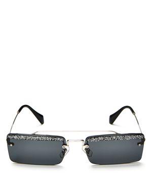 Miu Miu Women's Embellished Brow Bar Square Sunglasses, 58mm
