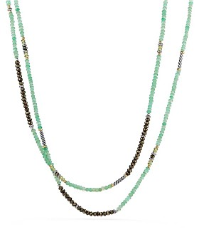 David Yurman - Tweejoux Bead Necklace in Chrysoprase, Pyrite & Peridot with 18K Gold