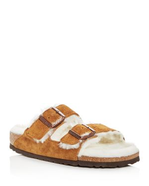 Birkenstock Women's Arizona Suede & Shearling Slide Sandals