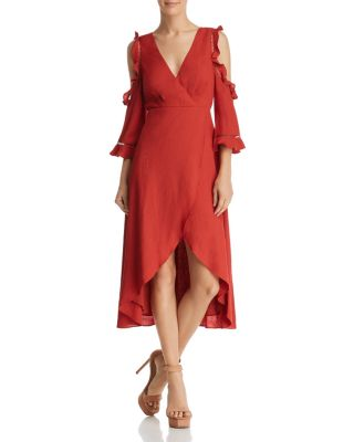 Cold Shoulder Faux Wrap Midi Dress   100 Percents Exclusive by Aqua