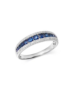 Bloomingdale's Blue Sapphire & Diamond Band in 14K White Gold - 100% Exclusive