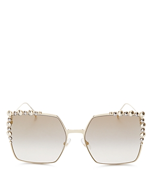 Fendi Women's Embellished Mirrored Square Sunglasses, 60mm
