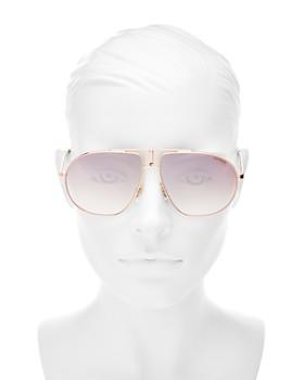 Carrera - Women's Mirrored Brow Bar Round Sunglasses, 60mm