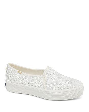 5c8edce705d9 Keds - x kate spade new york Women's Triple Decker Glitter Canvas Slip-On  Sneakers