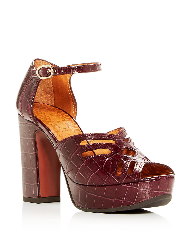 Chie Mihara Women's Kenya Croc-Embossed Leather High-Heel Platform Sandals BvoJMqqt