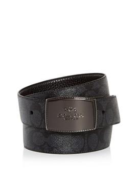 COACH - Men's Plaque Buckle Signature Reversible Belt