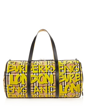Burberry - Graffiti Print Vintage Check Medium Duffel Bag