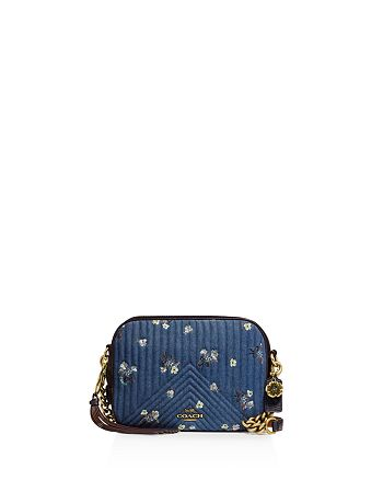 c6fc75d3b8 COACH - Quilted Denim Floral Bow Print Crossbody Camera Bag