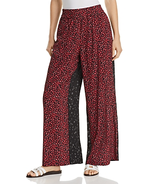 French Connection Aubine Mixed-Print Wide-Leg Pants