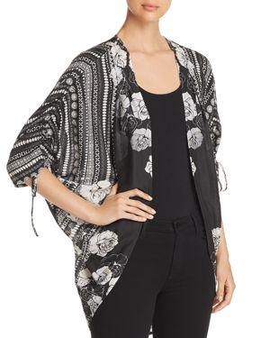 TOLANI Printed Kimono-Style Cardigan in Black