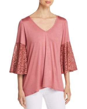 STATUS BY CHENAULT Status By Chenault Lace Bell Sleeve Top - 100% Exclusive in Mauve