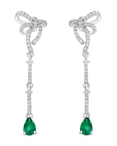Bloomingdale's Emerald & Diamond Bow Drop Earrings in 14K White Gold - 100% Exclusive_0