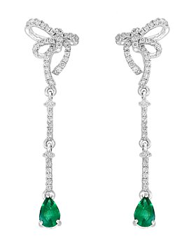 Bloomingdale's - Emerald & Diamond Bow Drop Earrings in 14K White Gold - 100% Exclusive