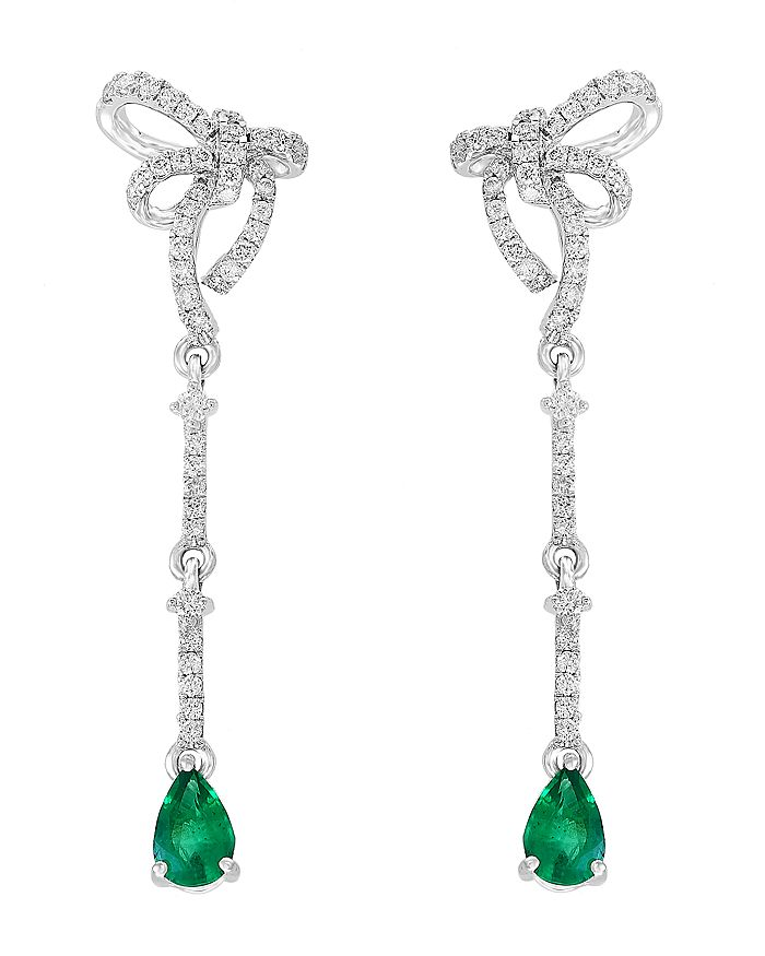Bloomingdale's - Emerald & Diamond Bow Drop Earrings in 14K White Gold - 100% Exclusive