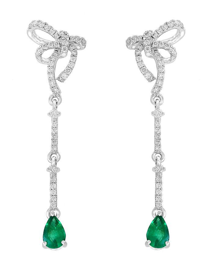 Bloomingdale's Emerald & Diamond Bow Drop Earrings in 14K White Gold - 100% Exclusive    Bloomingdale's