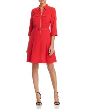 MICHAEL MICHAEL KORS HALF-ZIP SHIRT DRESS