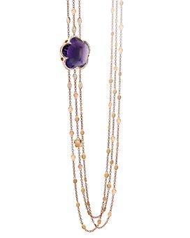 "Pasquale Bruni - 18K Rose Gold Bon Ton Amethyst & Diamond Multi Strand Necklace, 40.5"""