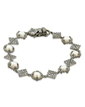Freida Rothman Cultured Freshwater Pearl Textured Chain Bracelet