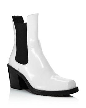 Creatures of Comfort - Women's Crawford Square Toe Patent Leather Mid-Heel Booties
