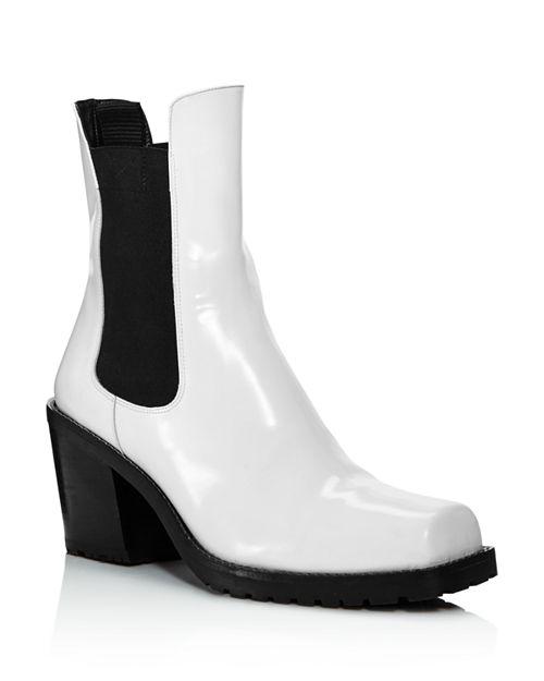 Creatures of Comfort - Women's Crawford Square Toe Patent Leather Mid-Heel Booties