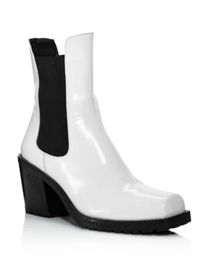 CREATURES OF COMFORT WOMEN'S CRAWFORD SQUARE-TOE PATENT LEATHER MID-HEEL BOOTIES