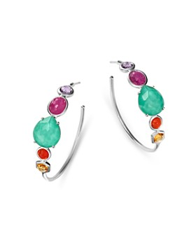 IPPOLITA - Sterling Silver Rock Candy Turquoise Doublet & Multi Gemstone Hoop Earrings
