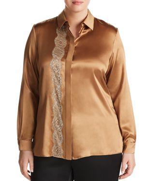 Marina Rinaldi Bengala Lace-Detail Silk Shirt