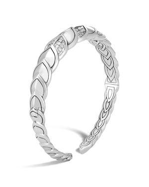 John Hardy Sterling Silver Legends Naga Pave Diamond Small Flex Cuff