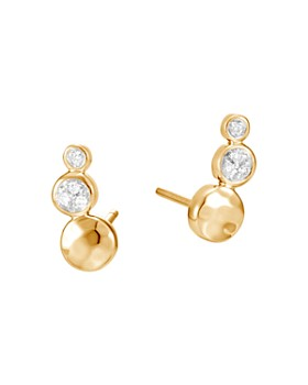 John Hardy - 18K Yellow Gold Dot Hammered Pavé Diamond Stud Earrings