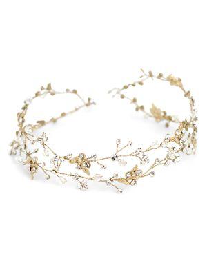 BRIDES AND HAIRPINS Brides And Hairpins Gia Halo Headpiece in Gold