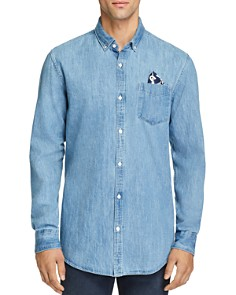 Scotch & Soda Pocket Square-Accented Denim Button-Down Shirt - Bloomingdale's_0