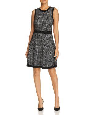 Mod Plaid Sleeveless Sweater Dress, Black