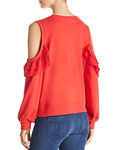 Marled - Cold-Shoulder Ruffled Sweatshirt