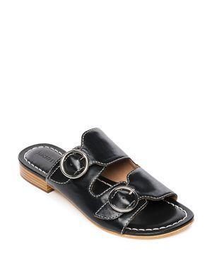 Bernardo Tobi Double-Strap Leather Slides