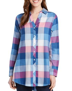 FOXCROFT HADLEY BUFFALO PLAID BUTTON-DOWN TUNIC