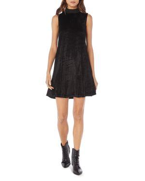 MICHAEL STARS Vali Velvet Mock Neck Shift Dress in Black