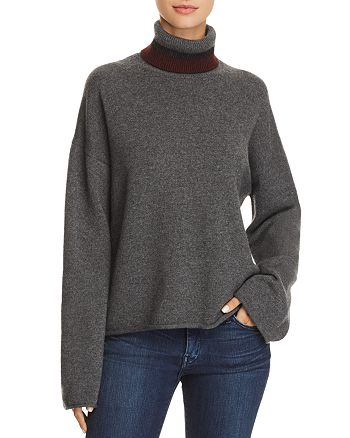 Theory - Stripe-Detail Cashmere Turtleneck Sweater - 100% Exclusive