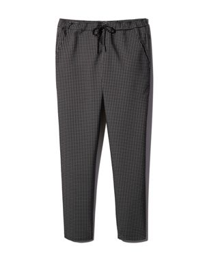 DYNE Pisano Windowpane-Print Drawstring Pants in Onyx/Eggshell